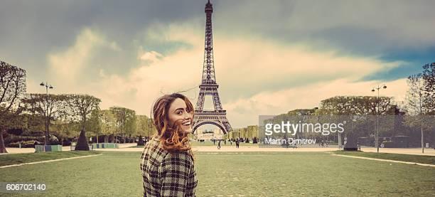 Happy girl in Paris