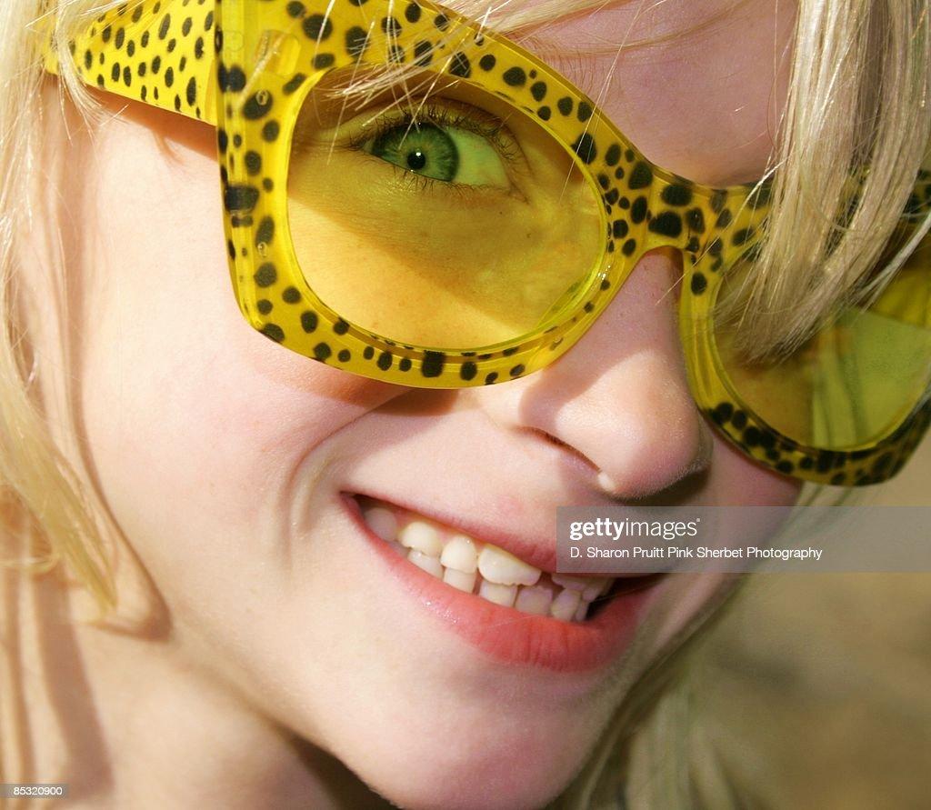 Happy Girl in Yellow Sunglasses : Stock Photo