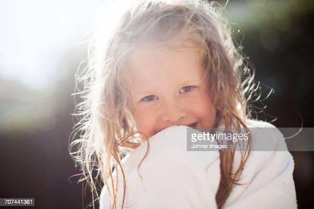 Happy girl looking at camera