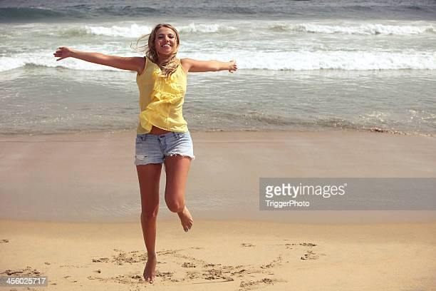 happy girl - woman open legs stock photos and pictures
