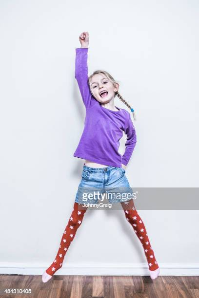 happy girl - children pantyhose stock photos and pictures