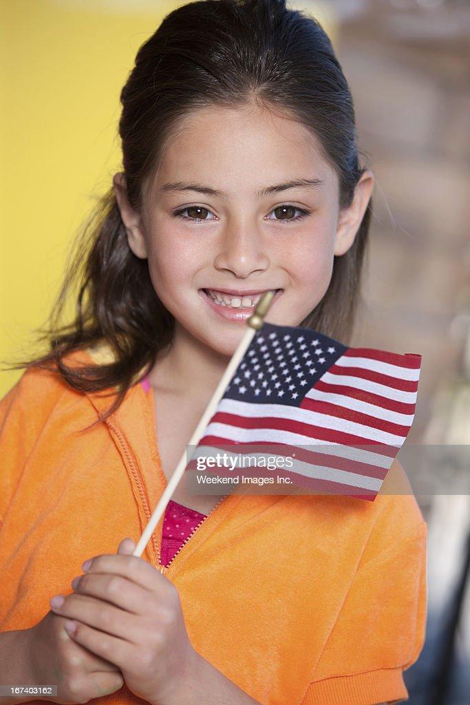 幸せな女の子、アメリカの国旗 : ストックフォト