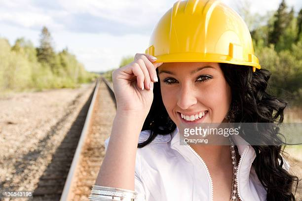 happy girl with construction hat