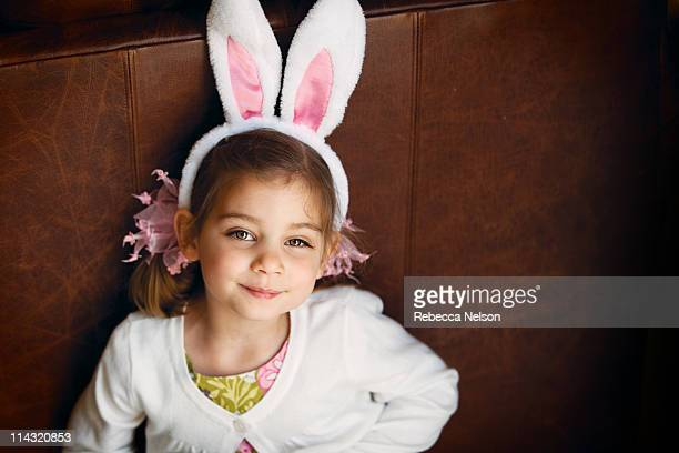 Happy girl with rabbit ears