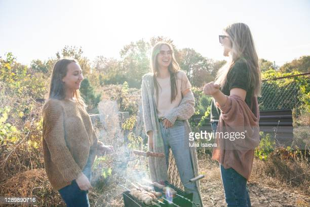 happy girlfriends grilling skewers in yard - female friendship stock pictures, royalty-free photos & images