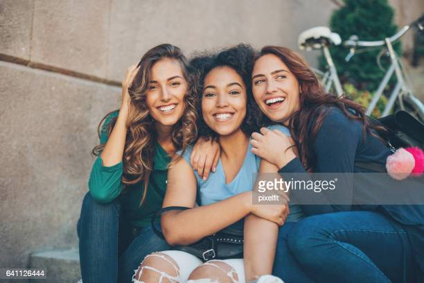 happy girlfriends - girlfriend stock pictures, royalty-free photos & images