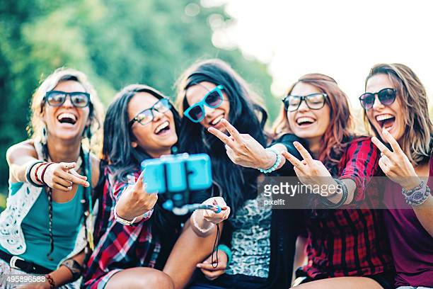 Happy girls making selfie