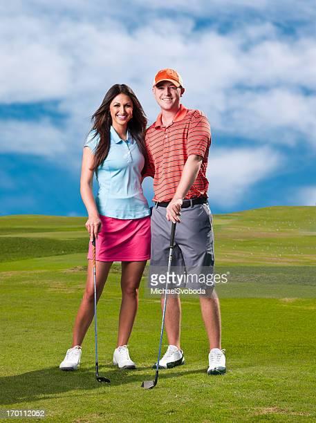 Happy Golfen Paar