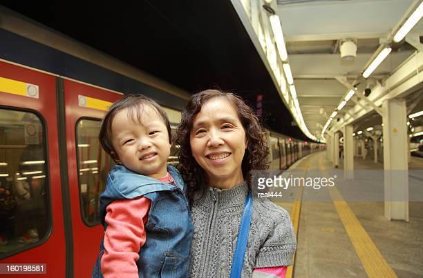Happy grandma and her Grandson in Hongkong Metro
