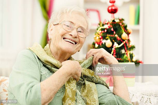 Happy grandmother at home