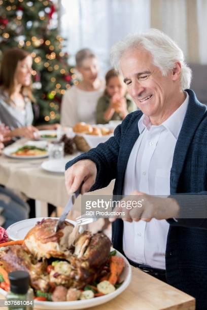 Glücklich Opa schnitzt Weihnachten Türkei
