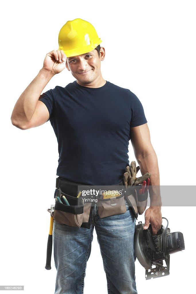 Saudação hispânica feliz operador de Trabalhador de Construção no fundo branco : Foto de stock