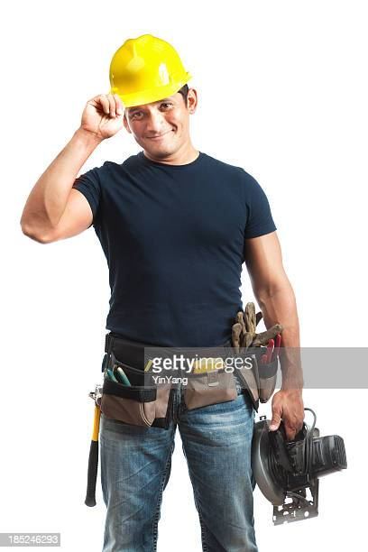 Happy Greeting Hispanic Construction Worker Handyman on White Background