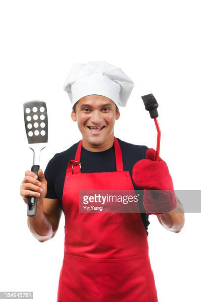 Happy Grill Master with Tools on White Background