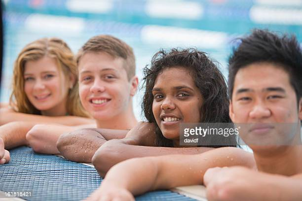 happy group at the pool - youth culture stock pictures, royalty-free photos & images