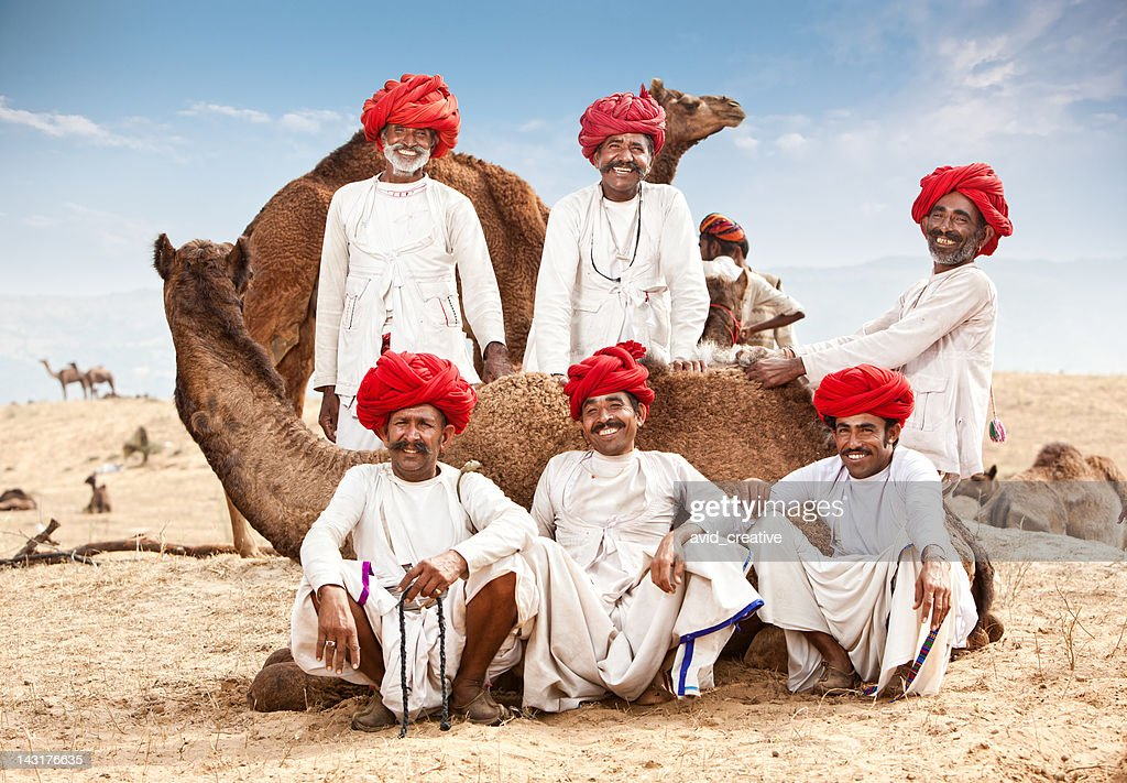 Happy Group Of Camel Drivers : Stock Photo