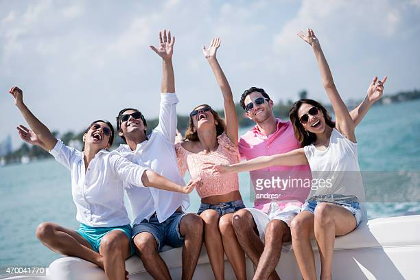 Happy group of friends on vacations