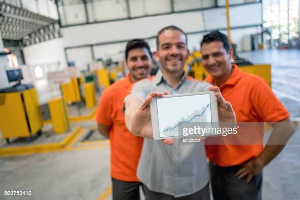 Glückliche Gruppe von Mechanik Hodling ein Wachstum Diagramm