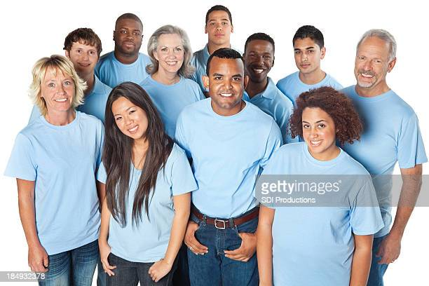 Happy group of people in blue shirts