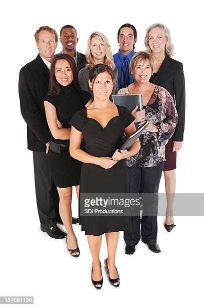 Heureux groupe de professionnels aux adultes de tout le corps, isolé sur blanc