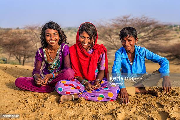 Happy Gypsy Indian children, desert village, India