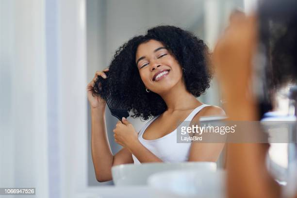 happy hair, happy life - thick black woman stock photos and pictures