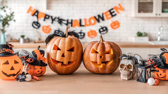 Happy Halloween! Pumpkin Jack lantern with for family holiday at home 1180227672