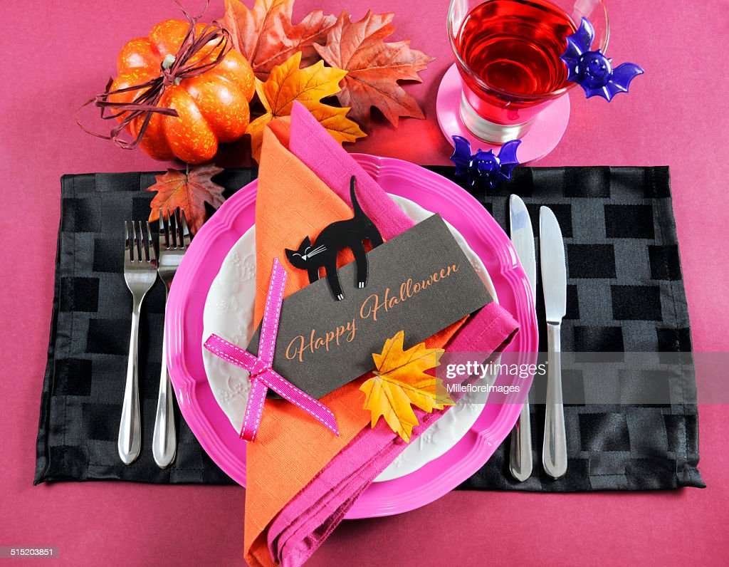 Happy Halloween Table Place Setting With Greeting Text Message Stock