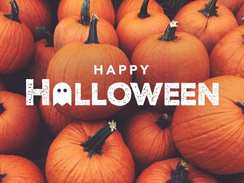 Happy Halloween Text With Pumpkins Background 1163397820