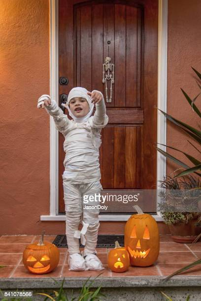 happy halloween-portrait of a mummy - mummy stock photos and pictures
