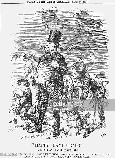 Happy Hampstead 1875 A suburban family is shown enjoying a day out in the park Behind them lurk the shrouded and menacing figures of Smallpox and...