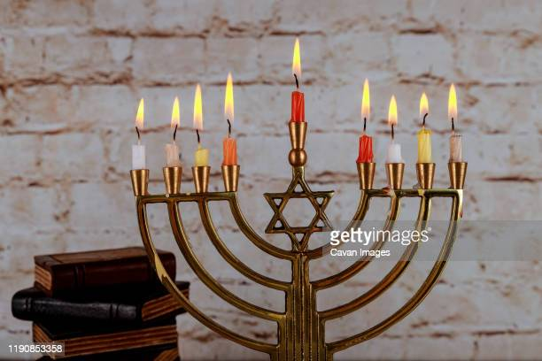 happy hanukkah of jewish holiday hanukkah with menorah - hannukkah stock pictures, royalty-free photos & images