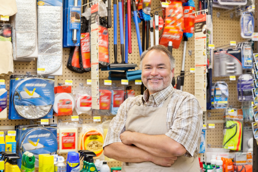 Happy Hardware Store Salesperson 506799199