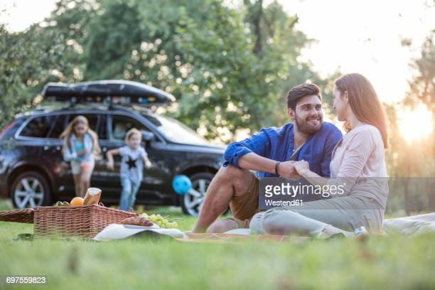 Happy having a picnic at road trip