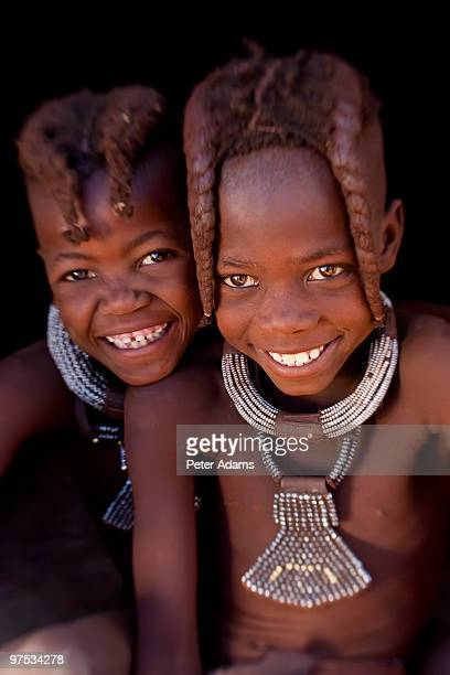 Happy Himba girls, Kaokoland, Namibia, Africa