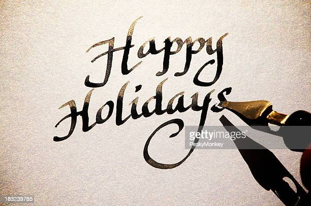 Happy Holidays Greeting Card Message in Old Fashioned Calligraphy