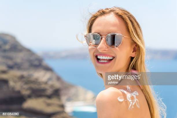 happy holidays & healthy sunbathing - happy holidays stock photos and pictures