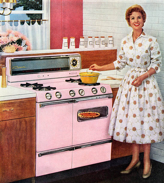 Housewife With Pink Range Oven Wall Art