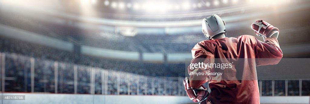 Feliz Jogador de hóquei no gelo : Foto de stock