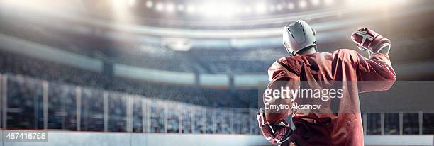 happy ice hockey player - ice hockey stock pictures, royalty-free photos & images