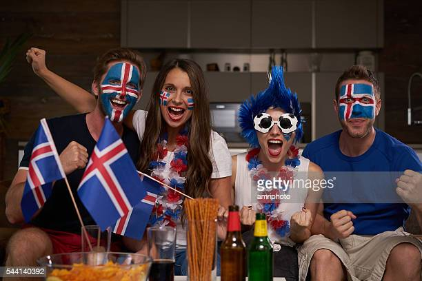happy iceland fans - international soccer event stock pictures, royalty-free photos & images