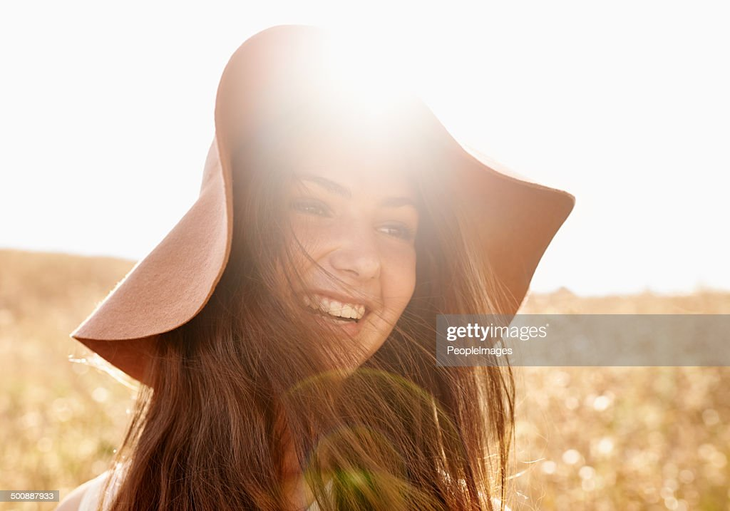 Happy in the fields of gold : Stock Photo