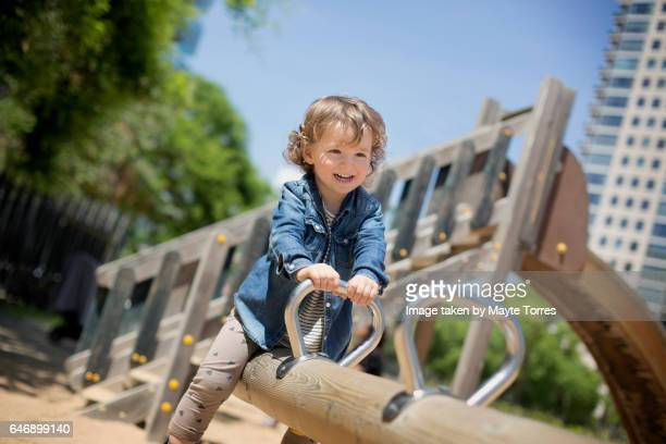 Happy in the playground