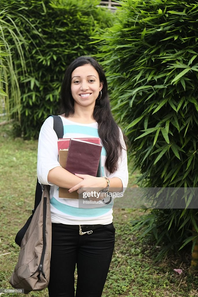 Happy Indian Girl In A College Campus Garden Stock Photo  Getty Images-5596