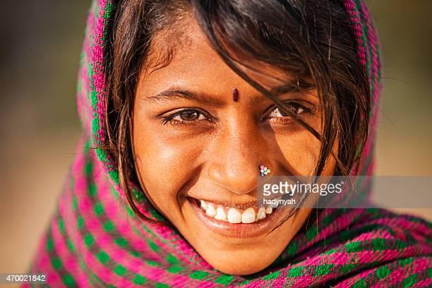 Happy Indian girl in desert village, India