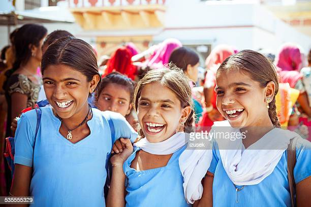 happy indian school girls - girls stock pictures, royalty-free photos & images