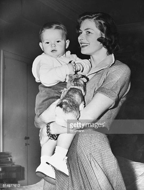 A happy Ingrid Bergman holds her 1yearold son Robertino on his birthday in 1950