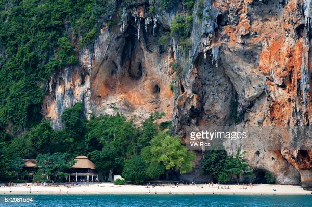 Happy Island Hat Phra Nang Beach Railay Krabi Province Thailand Southeast Asia Asia Hat Phra Nang Beach Railay Beach forms one of the most beautiful...