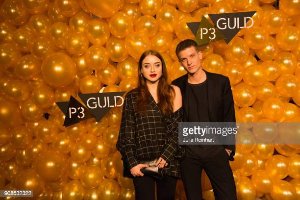 Happy Jankell and Alexander Sjögren arrive at the P3 Guld Gala Swedish Radio's celebration of the best in Swedish Music on January 20 2018 at...
