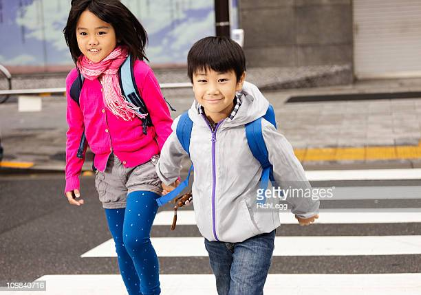 Happy Japanese Children Crossing the Street